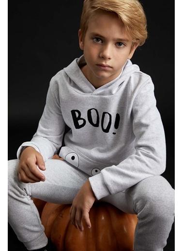 DeFacto Erkek Çocuk Baskılı Kapüşonlu Sweatshirt Gri